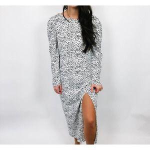 Glamorous Black & White Split Maxi Dress